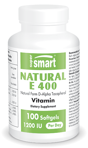 Natural E 400 IU | GMO Free | Active form of Vitamin E - Boost Immune System - Anti Aging | 60 Vegetarian Capsules - Supersmart