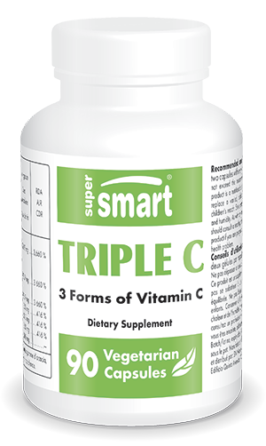 Triple C | Made in USA | GMO & Gluten Free | Best Vitamin C Supplement - Immune System & Cardiovascular Health | 90 Vegetarian Capsules - Supersmart