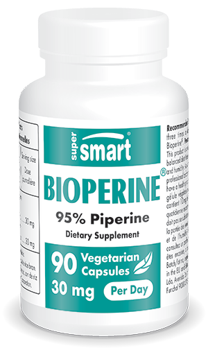 Bioperine® 30 mg Per Day | GMO & Gluten Free | 95% Natural Piperine - Increase Bioavailability & Absorbption | 90 Vegetarian Capsules - Supersmart