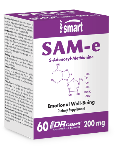 SAM-e 200 mg | GMO & Gluten Free | For Anxiety & Emotional Well Being - Detox & Regenerate the Liver - Weight Loss | 60 DR Capsules - Supersmart