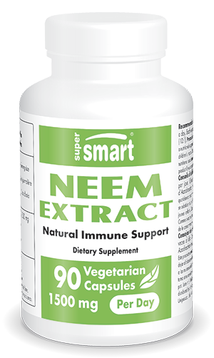 Neem Extract | Made in USA | GMO & Gluten Free | Immune System Booster - Promote Healthy Skin & Fight Acne | 90 Vegetarian Capsules - Supersmart