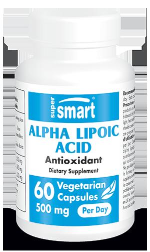 Alpha Lipoic Acid Supplement 500 mg Per Day | GMO & Gluten Free | Antioxidant & Detox Supplement - Weight Loss | 60 Vegetarian Capsules - Supersmart