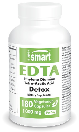 EDTA Supplement 1000 mg Per Day | Made in USA | GMO & Gluten Free | Powerful Detox & Liver Health Supplement - Antioxidants | 180 Vegetarian Capsules
