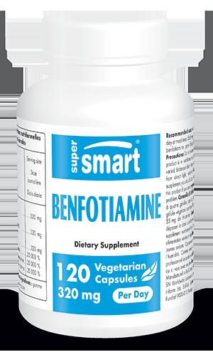 Benfotiamine 80 mg | Made in USA | GMO & Gluten Free | Thiamine Supplement (Vitamin B1) - Blood Sugar Control | 120 Vegetarian Capsules - Supersmart