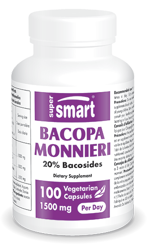 Bacopa monnieri 600 mg Per Day | Made in USA | GMO & Gluten Free | Nootropic Supplement - Memory Booster | 100 Vegetarian Capsules - Supersmart