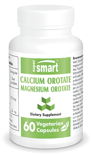Calcium Orotate & Magnesium Orotate | Made in USA | GMO & Gluten Free | Natural Sleep Aid - Bad Mood Relief | 60 Vegetarian Capsules - Supersmart