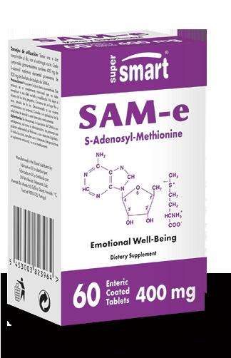 SAM-e Supplement 400 mg | GMO & Gluten Free | Emotional Well Being - Mood Enhancer - Detox & Regenerate the Liver | 60 Tablets - Supersmart