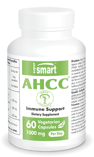 AHCC Supplement 1000 mg Per Day | GMO & Gluten Free | Powerful Immune System Booster - Shiitake Mushroom | 60 Vegetarian Capsules - Supersmart