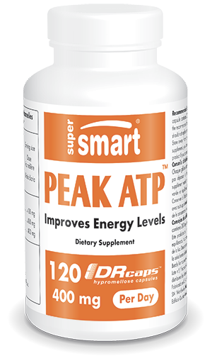 PEAK ATP™ 400 mg | GMO & Gluten Free | Energy & Life Extention Pills - ATP (Adenosine TriphosPhate) Supplement | 60 DR Capsules - Supersmart