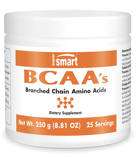 BCAA's Supplement 250 mg | Made in USA | GMO & Gluten Free | 3 Essential Amino Acids - Protein Powder for Muscle Metabolism | 250 g/9 Oz - Supersmart