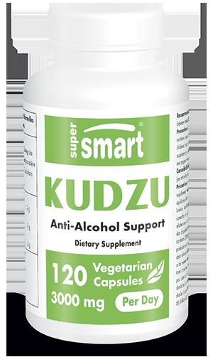 Kudzu Extract 3 g Per Day | GMO & Gluten Free | Natural Anti Alcohol Pills - Detox Supplement - Hangover Cure | 120 Vegetarian Capsules - Supersmart