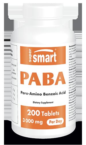 PABA 3000 mg Per Day | GMO & Gluten Free | Para Amino Benzoic Acid - Antioxidant Supplement - Skin, Hair & Nails Supplement | 200 Tablets - Supersmart