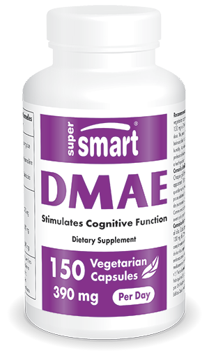 DMAE 390 mg Per Day | GMO & Gluten Free | Pre Workout & Brain Supplement - Nervous System Health | 150 Vegetarian Capsules - Supersmart