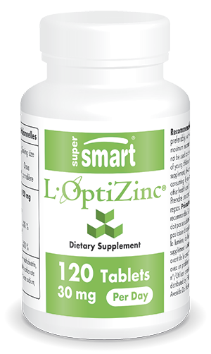 L-OptiZinc® 30 mg Per Day | Made in USA | GMO & Gluten Free | Healthy Respiratory System - Antioxidant Supplement | 120 Tablets - Supersmart