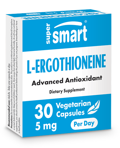 L-Ergothioneine 5 mg | Made in USA | GMO & Gluten Free | Antioxidant & Anti Inflammatory - Detox Supplement | 30 Vegetarian Capsules - Supersmart