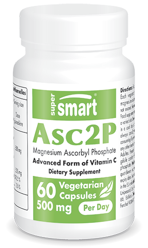 Asc2P 500 mg Per Day | Made in USA | GMO & Gluten Free | Advanced Form of Vitamin C - Boost Immune System | 60 Vegetarian Capsules - Supersmart