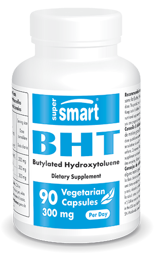 BHT Supplement 300 mg | Made in USA | GMO & Gluten Free | Immune System Booster - Best Antioxidant & Anti Aging | 60 Vegetarian Capsules - Supersmart