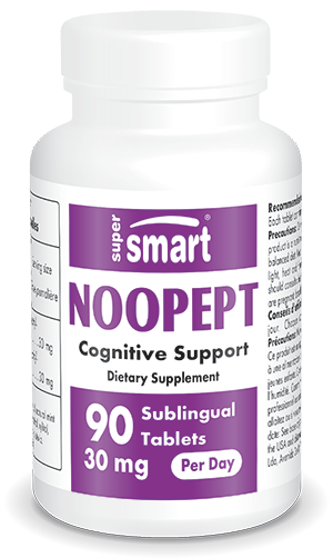 Noopept 30 mg Per Day | Made in USA | GMO & Gluten Free | Nootropic Supplement - Improve Mood, Sleep & Memory | 90 Sublingual Tablets - Supersmart