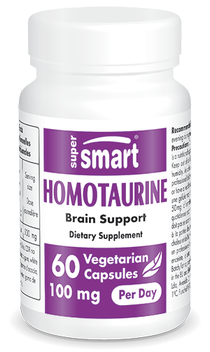 Homotaurine 50 mg | GMO & Gluten Free | Brain Supplement for Cognitive Function | 60 Vegetarian Capsules - Supersmart
