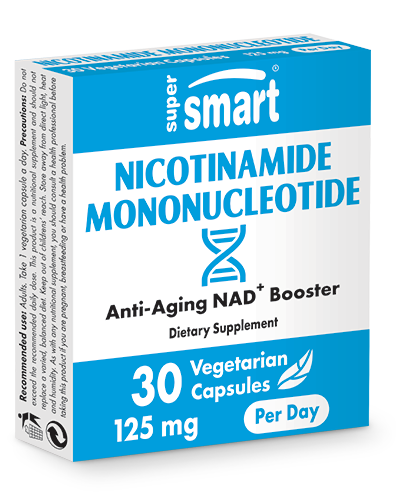 Nicotinamide Mononucleotide (Best NMN Supplement) 125 mg | GMO & Gluten Free | Longevity & NAD Booster | 30 Vegetarian Capsules - Supersmart
