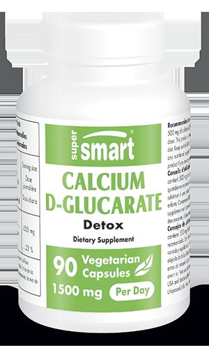 Calcium D-Glucarate 1500 mg | Made in USA | GMO & Gluten Free | Detox Supplement - Help Estrogen Levels | 90 Vegetarian Capsules - Supersmart