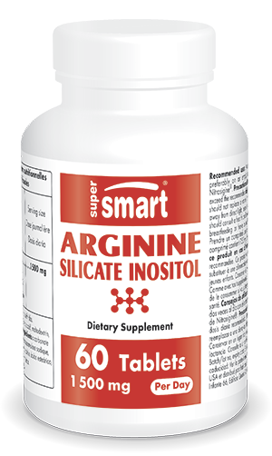 Arginine Silicate Inositol 1500 mg Per Day | Made in USA | GMO & Gluten Free | Supplement of Arginine with Silicon | 60 Tablets - Supersmart