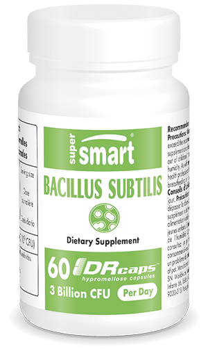 Bacillus Subtillis 3 Billion CFU 30 mg | GMO & Gluten Free | Probiotic that Boost Immune System - for Digestive Health | 60 DR Capsules - Supersmart