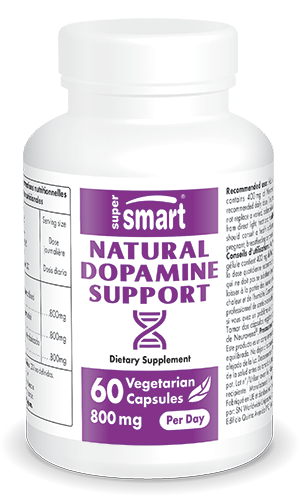 Natural Dopamine Support 400 mg | GMO & Gluten Free | Booster Supplement - Fatigue Relief & Boost concentration | 60 Vegetarian Capsules - Supersmart