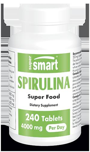 Spirulina 4000 mg Per Day | GMO & Gluten Free | Natural Blue Algae Extract Supplement - Superfood Pills Rich in Vitamins | 240 Tablets - Supersmart