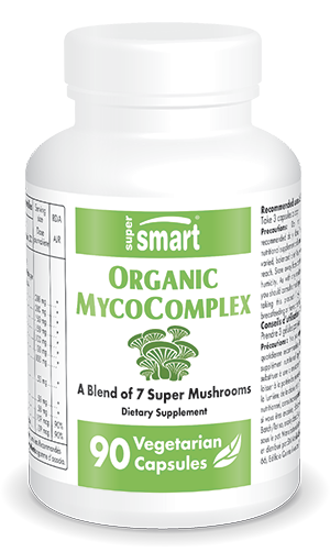 Organic MycoComplex | GMO & Gluten Free | Best Multi Mushrooms Supplement - Boost Immune System & Fatigue Relief | 90 Vegetarian Capsules - Supersmart