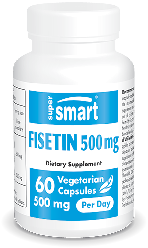 Fisetin Supplement 500 mg | Made in USA | GMO & Gluten Free | Max Purity Standardized to 98% - Natural Senolytic | 60 Vegetarian Capsules - Supersmart