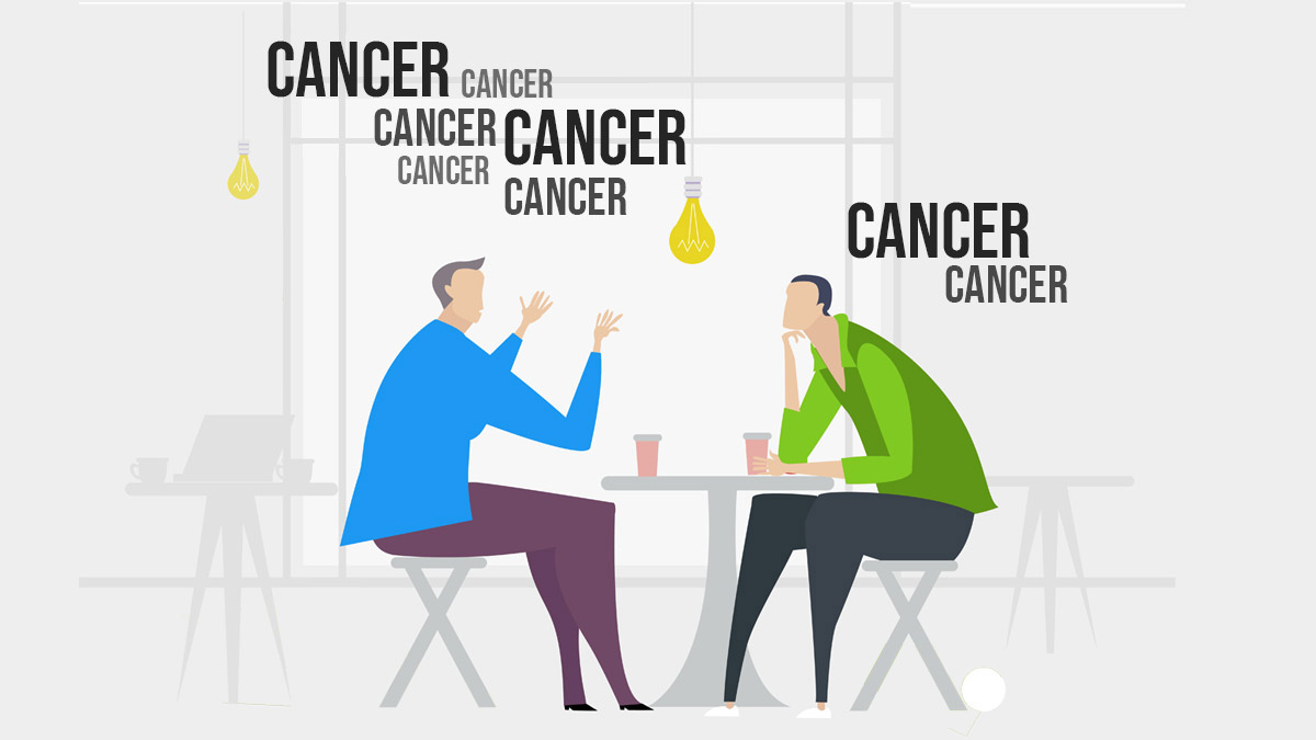 Two people discuss cancer